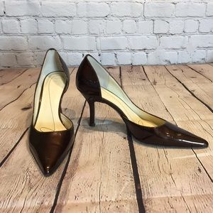 Anne Klein brown leather D'Orsay pointed toe pump